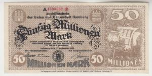 50 Millionen Mark Banknote Aushilfsschein Hansestadt Hamburg 27.9.1923 (115799)