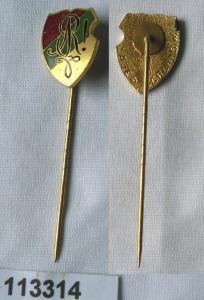 Emailliertes Abzeichen Studentika Wappen rot grün gold um 1920 (113314)
