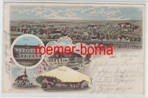 74822 Ak Lithographie Gruss aus Neukirchen Schule, Rittergut usw. 1900