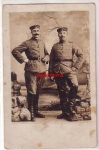 03063 Foto Ak 2 Husaren in Feldgrau 1.Weltkrieg
