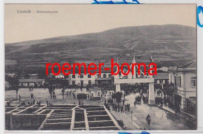 85914 Ak Uesküp (Skopje) Bahnhofsplatz 1916 0
