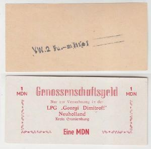 1 Mark Banknote DDR LPG Geld Neuholland Kreis Oranienburg (116519)