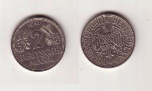 2 Mark Nickel Münze BRD Trauben und Ähren 1951 D (112488)