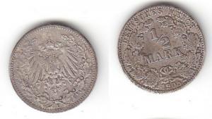 1/2 Mark Silber Münze Deutsches Reich 1908 E  (115055)