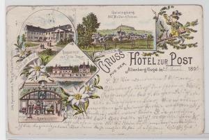 84159 Ak Lithographie Gruss aus dem Hotel zur Post Altenberg im Erzgeb. 1896