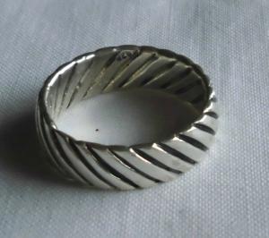 Moderner Damenring 925er Silber Muster Wellenstreifen (119139)