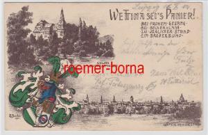 88081 Künstler Ak Studentika Wettina sei´s Panier! Schloss Sondershausen 1901