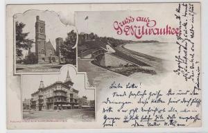 19109 AK Gruss aus Milwaukee - St Paul's Kirche, Republikaner Haus, Promenade