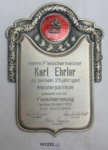 Wunderbares Blechschild Fleischerinnung Zwickau 1932 (101232)