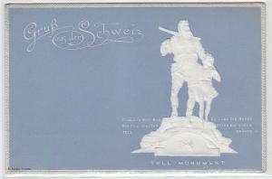 67188 Präge Ak Gruß aus der Schweiz Tell Monument um 1900