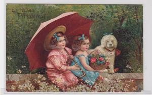 60557 Glückwunsch AK Ein frohes Pfingstfest - Mädchen unter Schirm mit Hund 1900