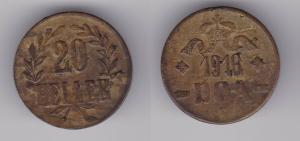 20 Heller Messing Münze Deutsch Ostafrika DOA 1916 J.727 b  (119822)