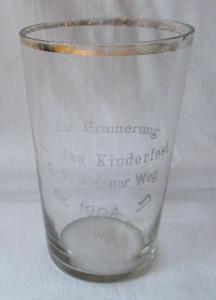 Rares Glas Zur Erinnerung an das Kinderfest G.-V. Dösener Weg 1904 (124094)