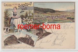75209 Ak Lithografie Gruss vom Appenzeller Land Wirtschaft Wildkirchlein um1900