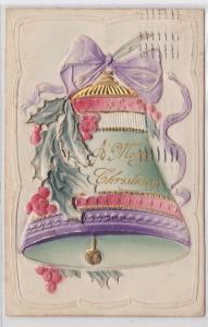 12438 Glückwunsch Präge AK A Merry Christmas, Glocke mit Mistelzweig 1910