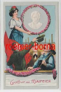 74170 Präge Ak Gruss von der Maifeier August Bebel um 1910