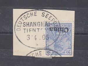 China Kiautschou Briefstück Stempel Seepost Shanghai Tientsin 1905 (115663)