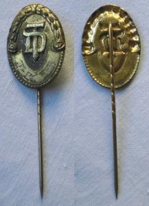 Vergoldete Ehrennadel Gold Deutsche Turnerschaft 800er Stempel um 1920 (102587)