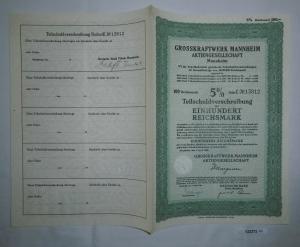 100 Reichsmark Aktie Grosskraftwerk Mannheim 1.April 1940 (132372)