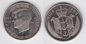 5 Dollar Nickel Münze Niue 1988 John F. Kennedy (119458)