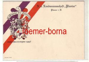 80544 Studentika Ak N.a. Landsmannschaft Plaviae Plauen i.V. um 1910