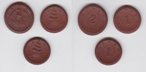 3x Porzellan Notgeld Münzen 2 x 1 Mark & 1 x 2 Mark Sachsen 1921 (132099)