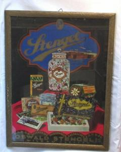Altes Reklame Pappschild im Rahmen Oswald Stengel Kakao Schokolade (115024)