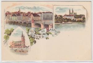 36634 Ak Lithographie Gruss aus Basel in der Schweiz um 1900