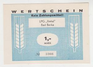 1 Mark Banknote DDR LPG Geld Bad Berka