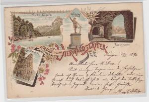 91181 Gruss vom Vierwaldstätter See - Axenstrasse, Tells Kapelle & Denkmal 1896