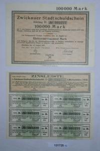 100000 Mark Zwickauer Stadtschuldschein 14.August 1923 + Zinsleiste (131725)