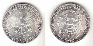 5 Mark Silber Münze Deutschland Gebrüder Humboldt 1967 F (114921)