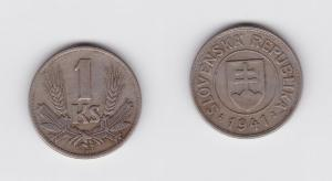 1 Krone Nickel Münze Slowakei 1941 (119891)