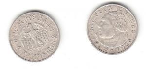 2 Mark Silber Münze 3.Reich Martin Luther 1933 A (115257)