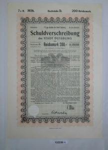 200 Reichsmark Schuldverschreibung der Stadt Duisburg 31.12.1926 (132236)