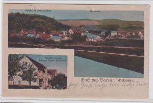 90213 AK Gruß aus Dorna bei Grimma - Haltestelle Dorna-Döben & Gasthof 1919
