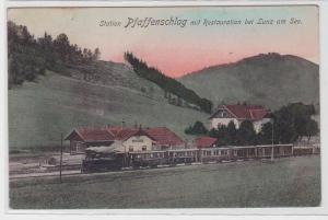 89166 Ak Station Pfaffenschlag mit Restauration bei Lunz am See 1917