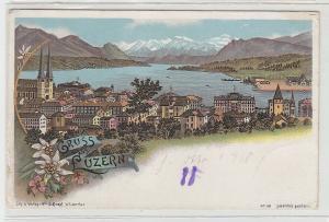 70130 Ak Lithographie Gruss aus Luzern Totalansicht um 1900