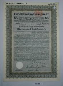 1000 Reichsmark Schuldverschreibung Emscher Genossenschaft Essen Mai1926(131893)