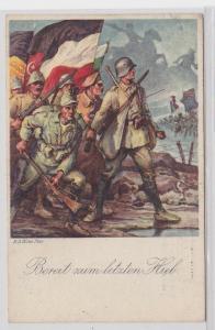 83629 Patriotika AK Bereit zum letzten Hieb, 1. WK dt. Verbündete Triple Entente