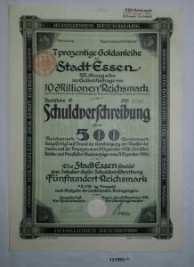 500 Reichsmark Schuldverschreibung Stadt Essen 31.12.1926 (131893)