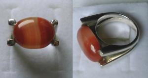 Moderner dekorativer Damenring 925er Silber goßer Stein mit Maserung (119307)