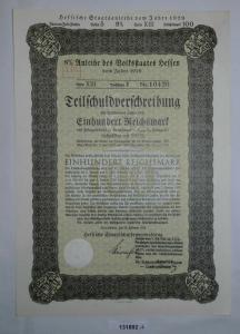 100 Reichsmark Anleihe Volksstaat Hessen Darmstadt 20.Februar 1929 (121892)