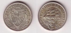 3 Mark Silber Münzen Hundert Jahre Bremerhaven 1927 A (115633)