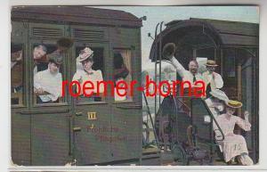 82470 Fröhliche Pfingsten Ak Passagiere im Eisenbahnwagon 1907