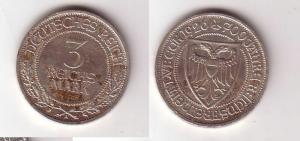 3 Mark Silber Münze 700 Jahre Reichsfreiheit Lübeck 1926 Jäger 323 (116234)