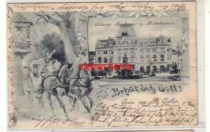 55082 Künstler Ak Gruss aus St. Gallen Schweiz. Bankverein m. Broderbrunnen 1899