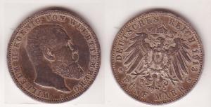 5 Mark Silber Münze Württemberg König Wilhelm II 1913 (109488)