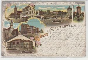 71769 Ak Lithografie Gruss aus Fürstenwalde, Ansicht Kaserne usw., 1901
