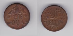 20 Heller Kupfer Münze Deutsch Ostafrika DOA 1916 J.727 a  (120179)